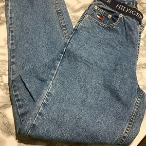 Vintage 90s Tommy Hilfiger Spell Out High Waist Blue Women's Jeans sz 4